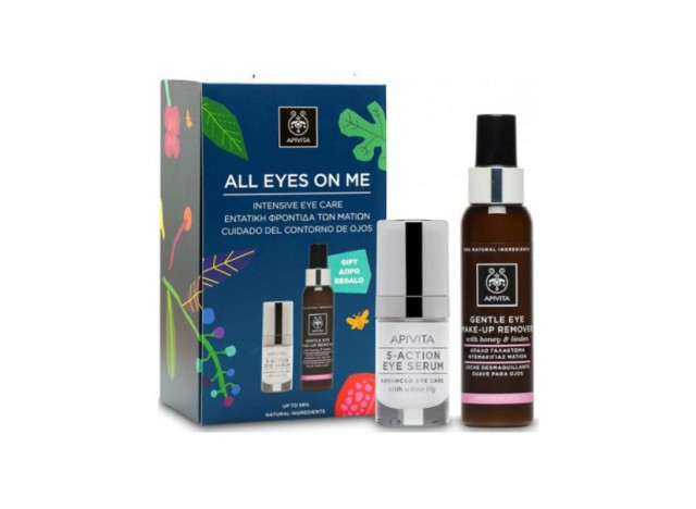 Apivita Cofre All Eyes On Me Serum Contorno de Ojos con Lirio Blanco 15ml + Leche Desmaquillante Suave para Ojos 100ml