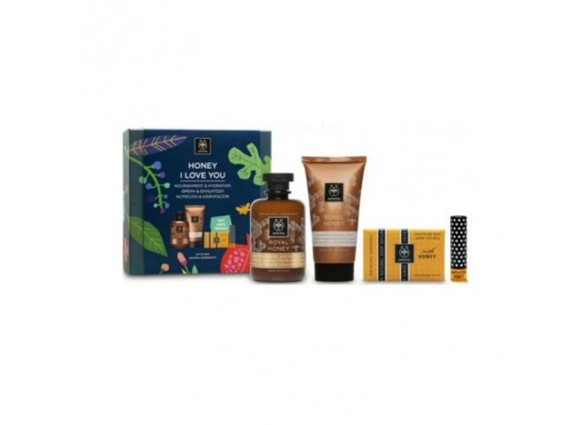 Apivita Cofre Honey I Love You Gel Ducha 300ml + Crema Corporal Miel 150ml + Jabón Miel 125g + Bálsamo Labial Miel 4.4 gr